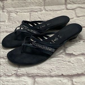 Women's navy leather sandals made in Italy